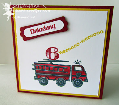stampin up, you're my hero, feuerwehrauto, fire truck, kid's birthday, kindergeburtstag, mix marker, blender pen