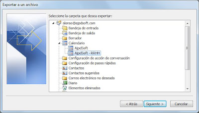 Exportar calendario Microsoft Outlook 2010 a formato CSV
