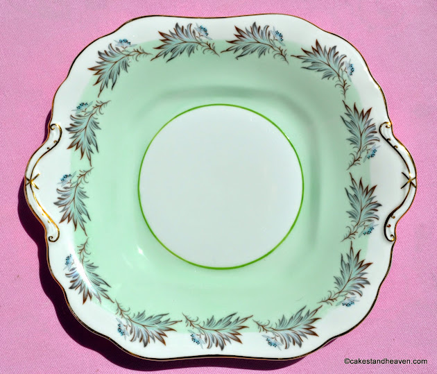 Aynsley pale green and gold cake or bread and butter plate