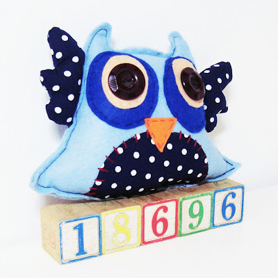 handmade by emily folksy owl cushion blue vintage polka dot fabric felt