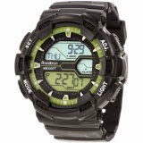 Armitron Men's 408246LGN Black and Lime Green Digital World Time Sport Chronograph Watch