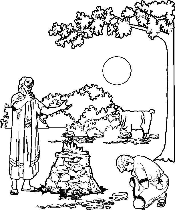 Abraham, Isaac y el sacrificio para colorear