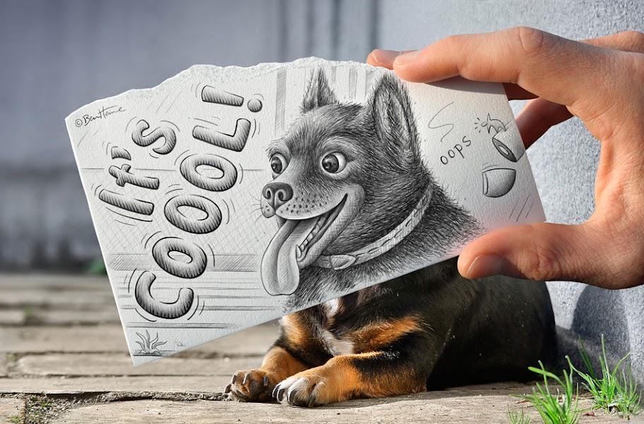 комбинация от молив и снимка от талантлив илюстратор