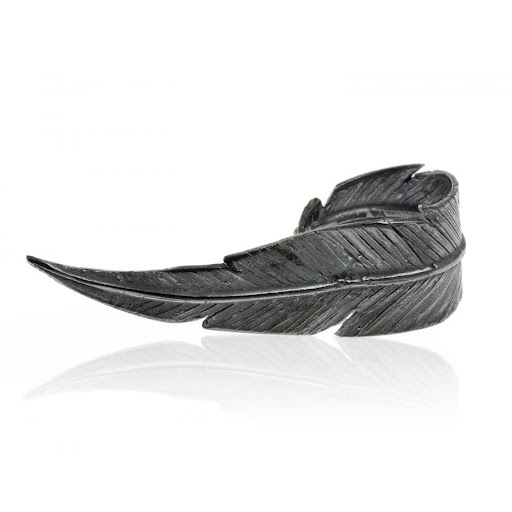 Lornie Blackened Silver Feather Ring by Daisy Knights
