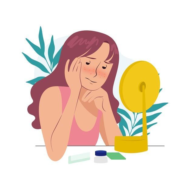 Ilustración de baja autoestima con mujer y espejo. | Vector Gratis