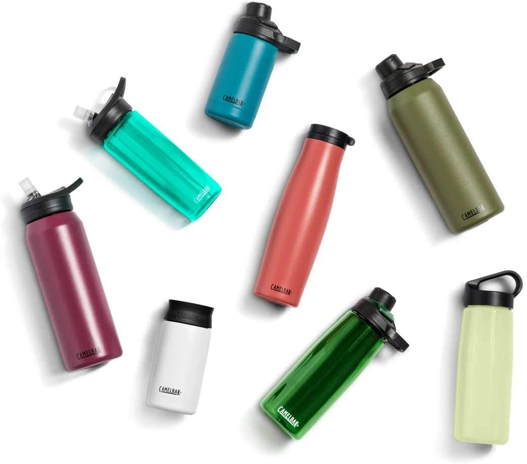 Eight reusable drinking bottles in different colors.