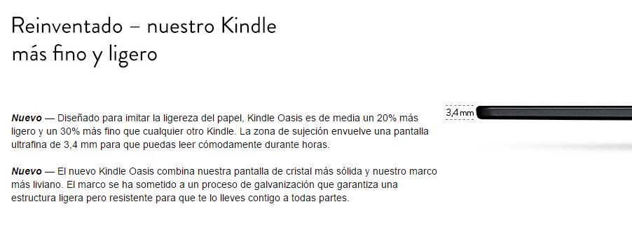 Kindle fino y ligero