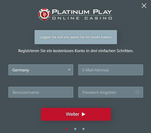 Anmeldeformular für Platinum Play.