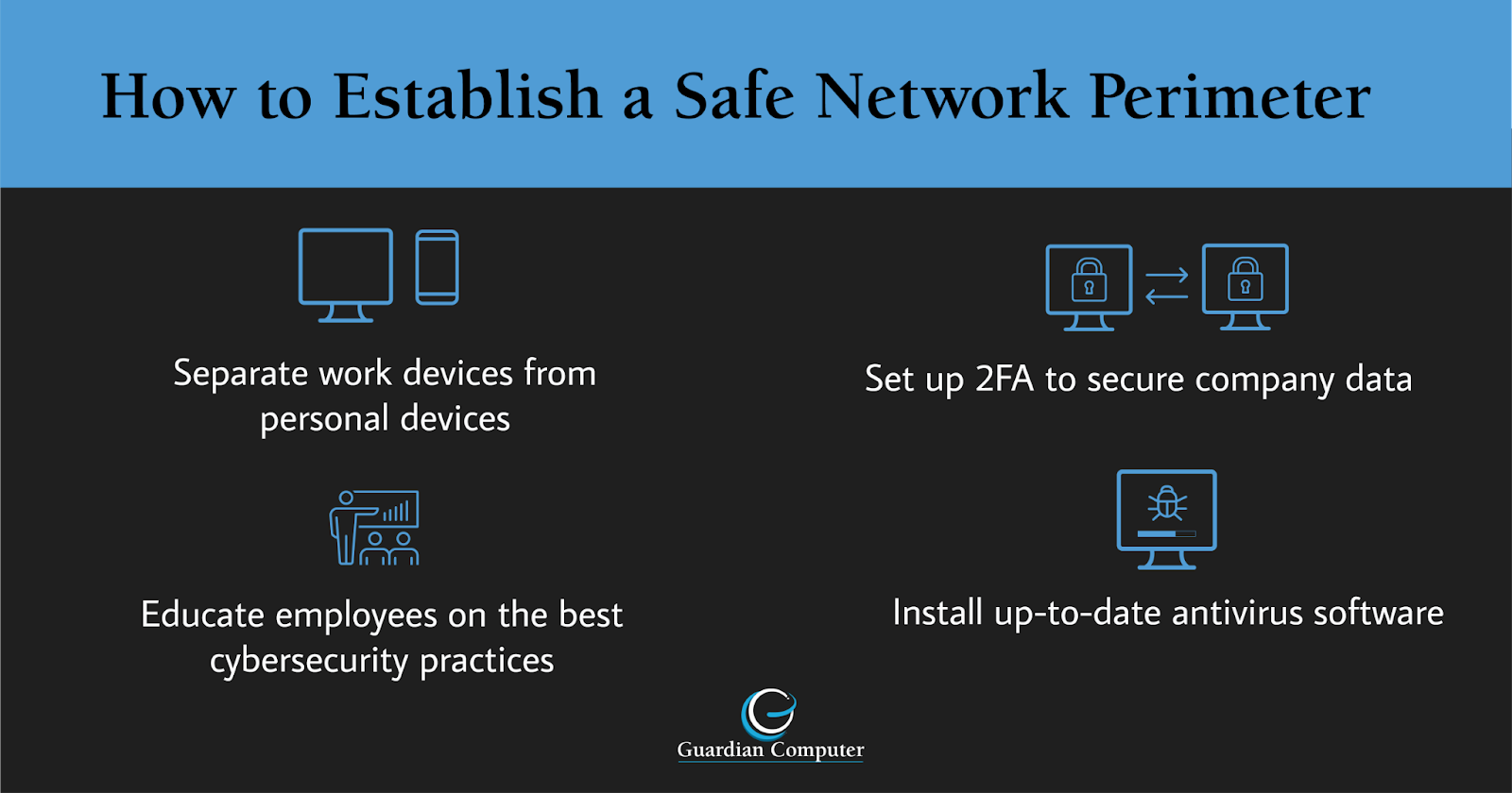 Despite the security assessment challenges in a distributed environment, one key piece of advice is to establish a safe network perimeter using the tips in this infographic and the rest of our blog post.