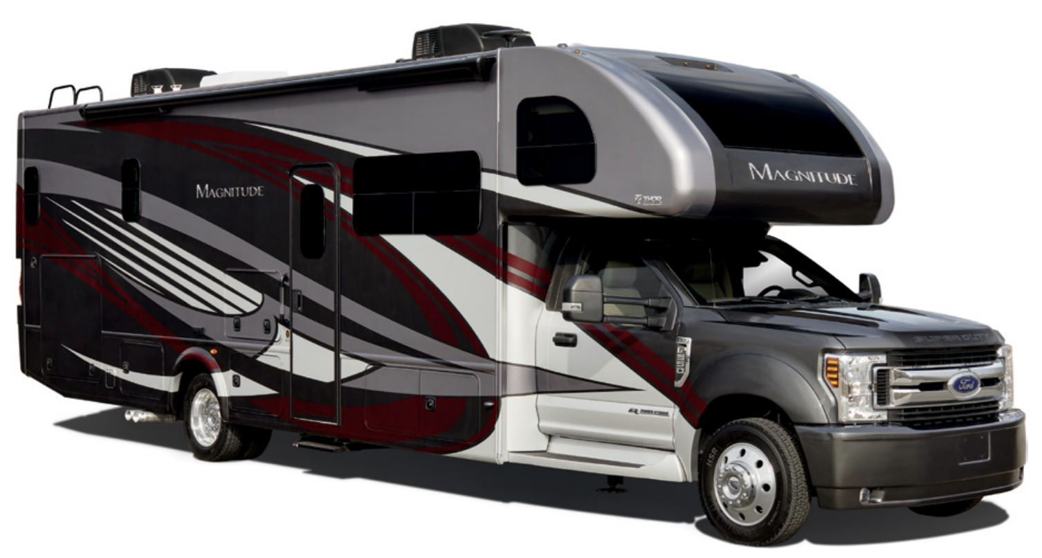 The Thor Magnitude Super C XG32 is a family-friendly RV that is 33 feet long.
