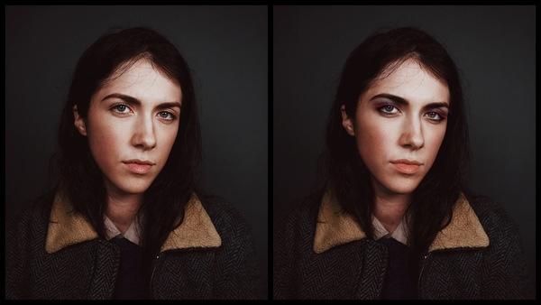Montagem com 2 fotos da mesma mulher mostrando o antes e depois da edição da maquiagem Eve do AirBrush