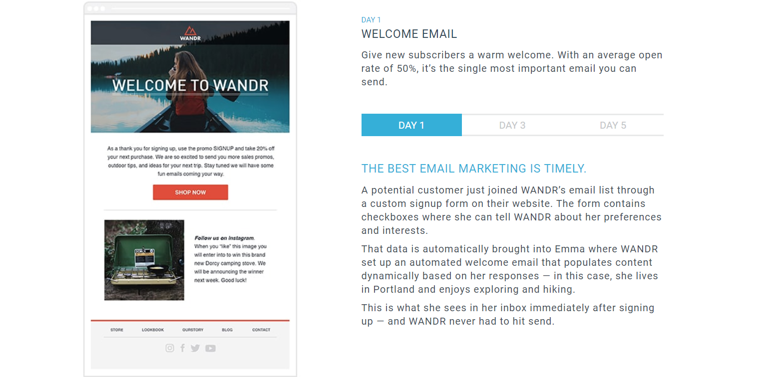 Send professional-looking emails with welcome emails