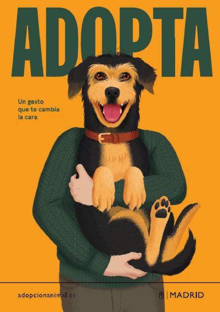 Cartel de la campaña adopta un animal en Madrid