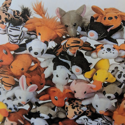 A pile of stuffed animals