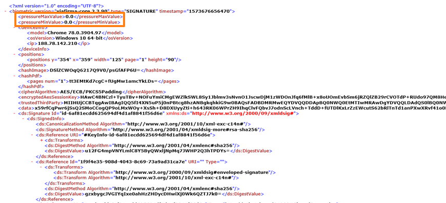 XML firma biométrica