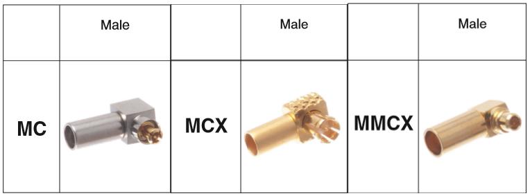 MC male MCX male MMCX male