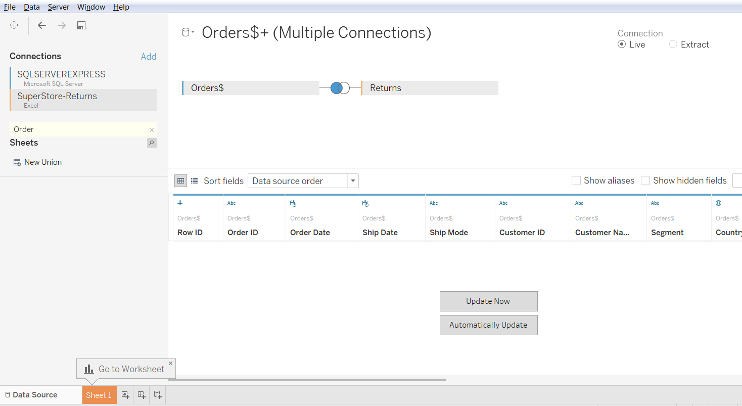 Cross Data Base Join in Tableau 35