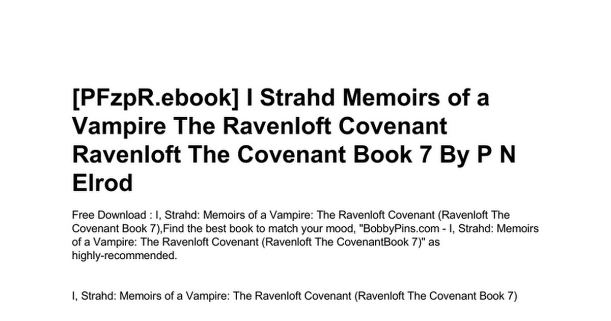 i strahd memoirs of a vampire