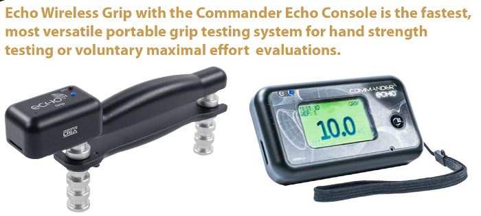 Simple grip testing using JTECH's Commander Echo Console and Wireless Grip Strength Dynamometer
