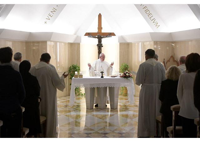 Pope Francis at Mass at the Vatican's Casa Santa Marta chapel on Oct. 23, 2017.