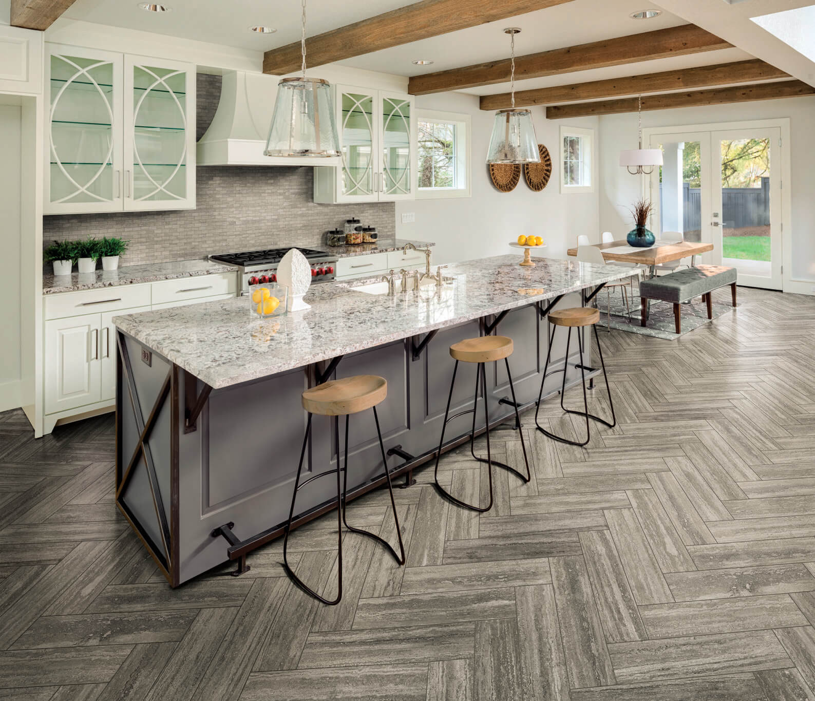Wood-look mosaic tile kitchen backsplash in a running bond pattern