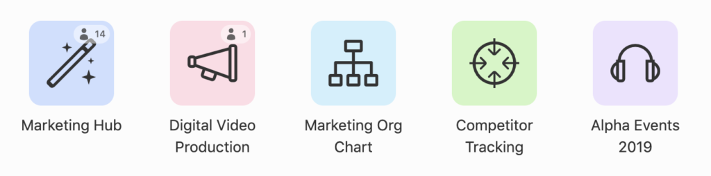 A screenshot of a list of graphics representing different Airtable bases: Marketing Hub, Digital Video Production, Marketing Org Chart, Competitor Tracking, and Alpha Events 2019.