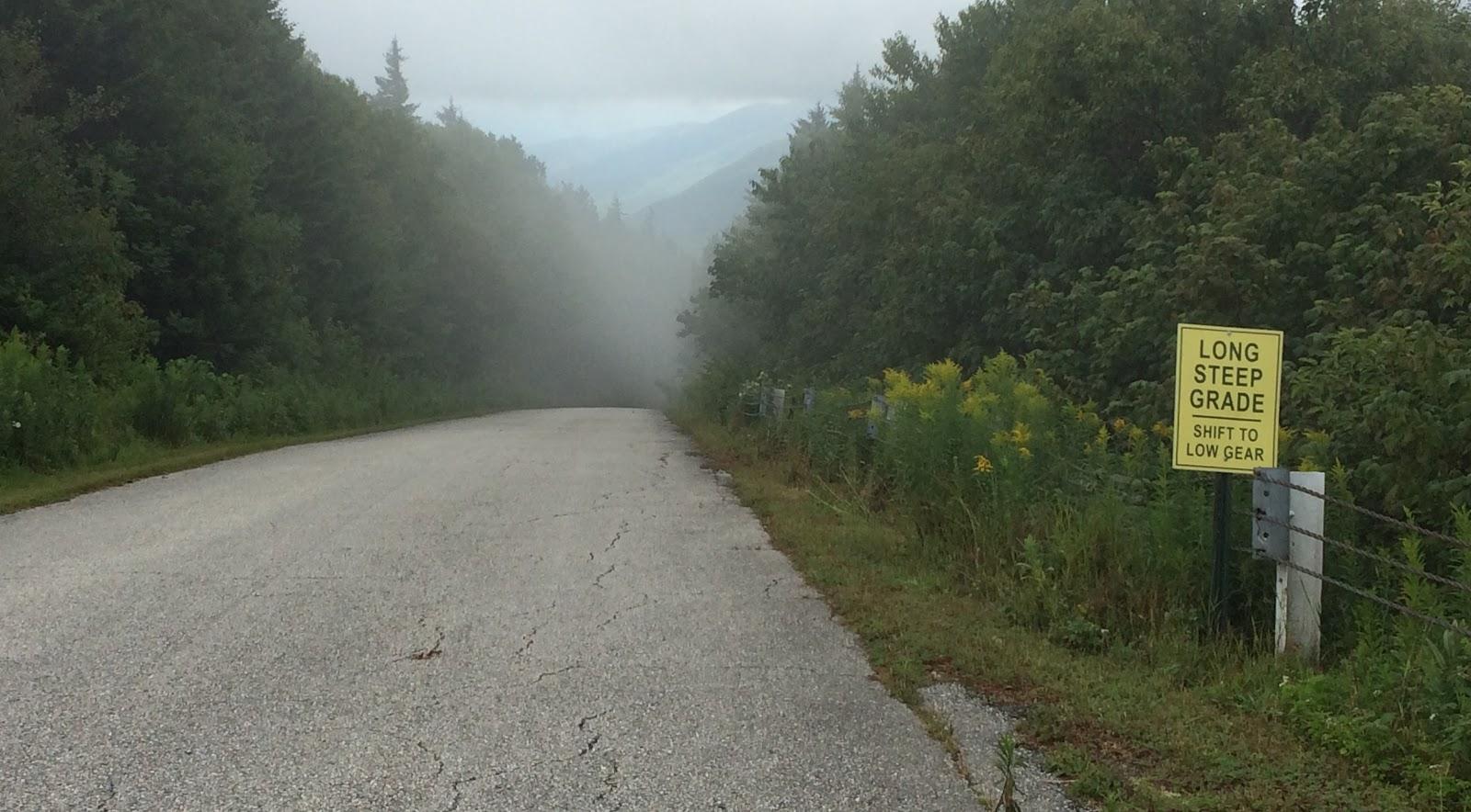 Mt. Equinox bike climb - steep road sign