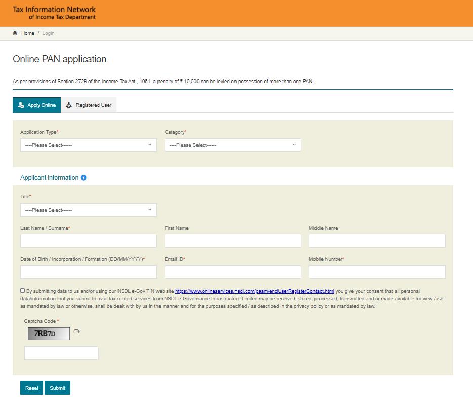 online pan application