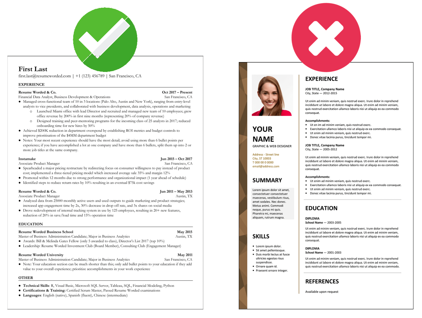 Use a standard one-column template to ensure your resume gets read correctly by ATS