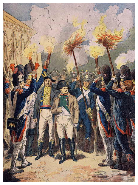 Image of Napoleon and his army, in December 1805, the eve of Austerlitz, Napoleon's soldiers have wooden sticks of fire in their hands, Napoleon is contemplating his next wise decision. Unknown Artist, (19th century)/ Private Collection © Stefano Bianchetti / Bridgeman Images
