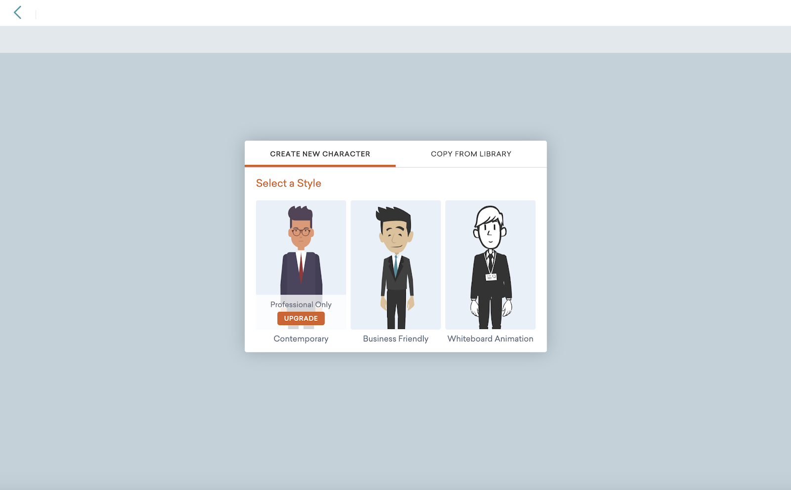 Screenshot of Vyond's character creator showing characters for the contemporary, business-friendly and whiteboard animation style.