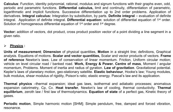 VOCLET 2021 Physics Syllabus: