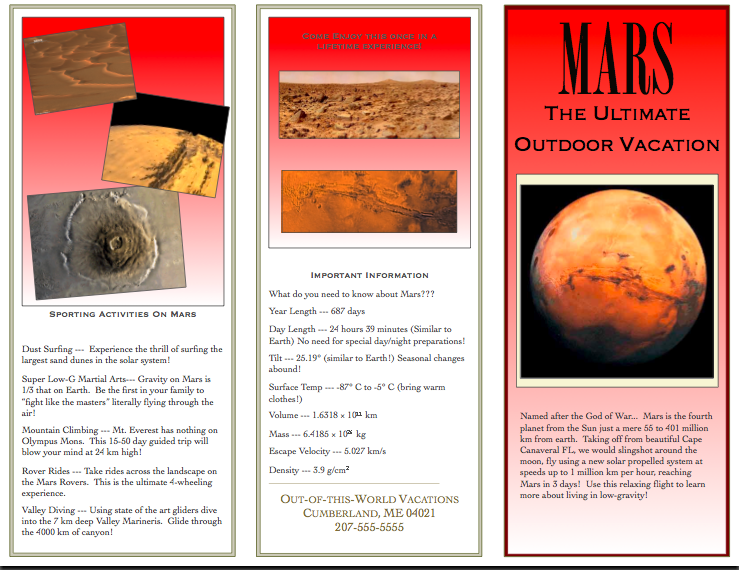 Mars Planet Brochure Project (page 5) - Pics about space