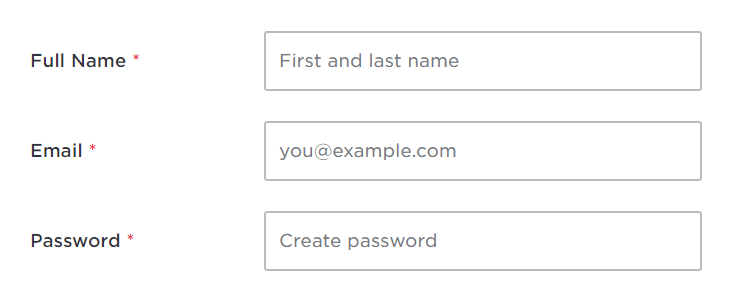 Hired Form Field Placeholder Text