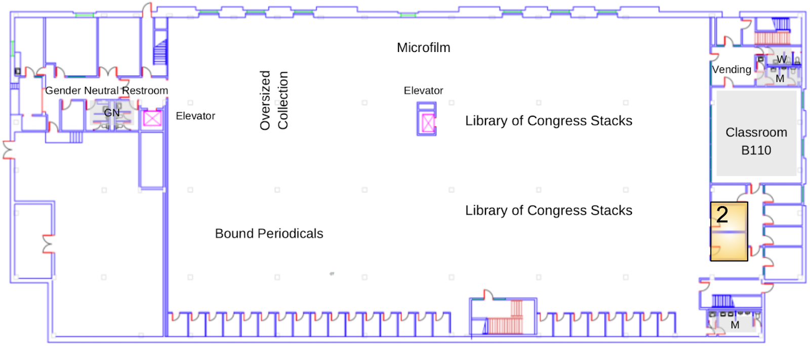 A map of the library's ground floor