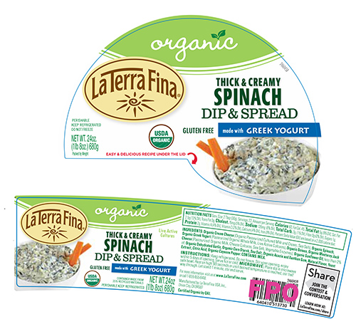 Side-wrap around label, La Terra Fina Organic Thick & Creamy Spinach Dip & Spread,  24 oz