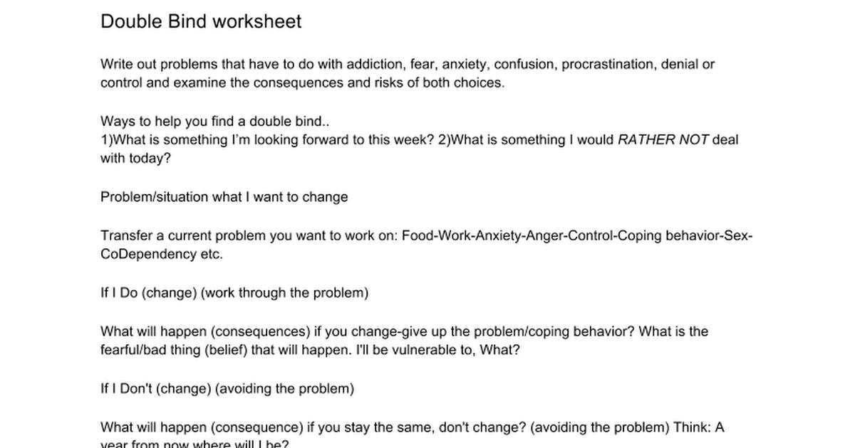 Double Bind Worksheet Google Docs