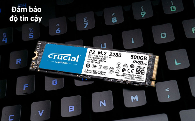 Ổ cứng SSD Crucial P2 500GB 3D NAND NVMe PCIe M.2 (CT500P2SSD8)  Đảm bảo độ tin cậy