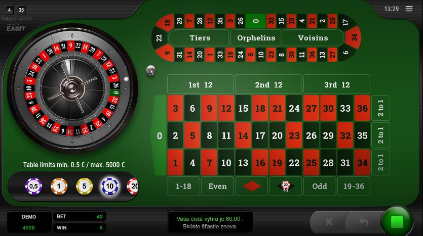 Roulette Platinum výhry