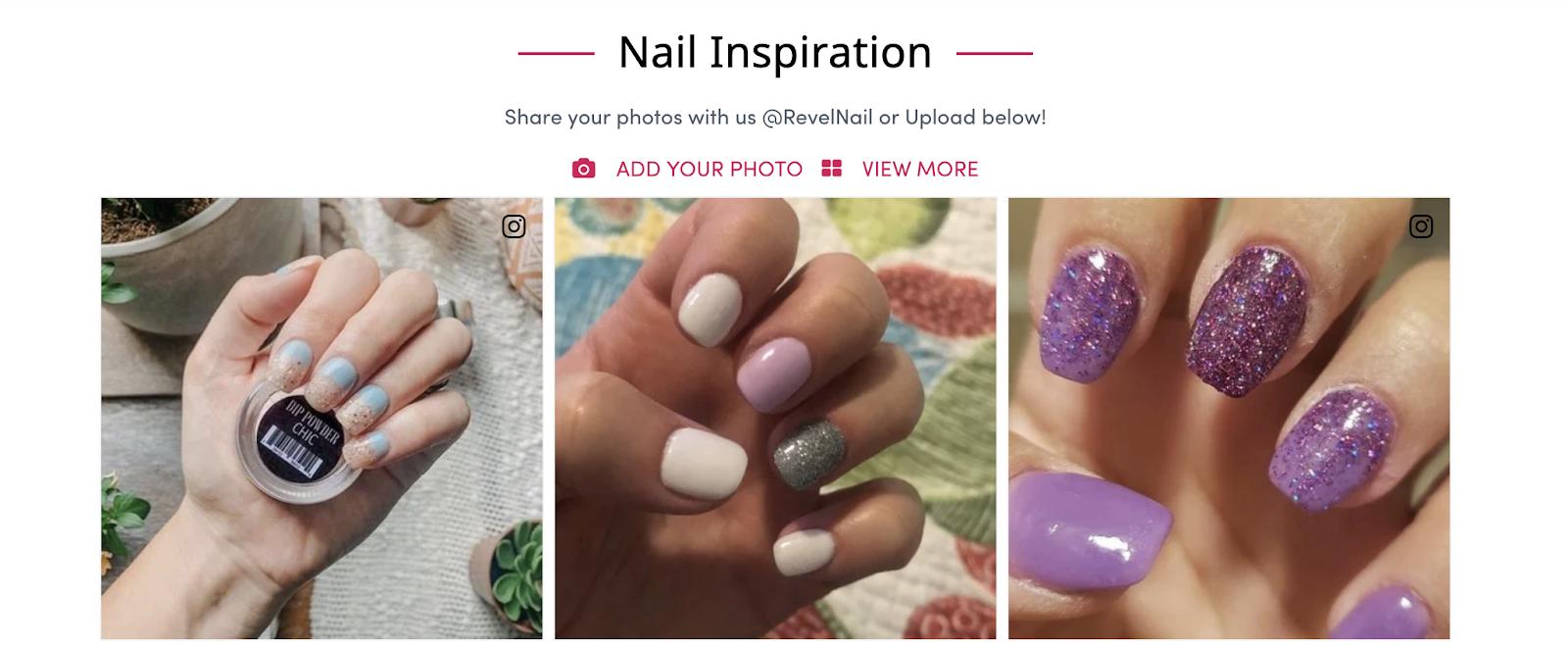 Nail Inspiration zeigt Bilder ihrer Kunden, die ihre Fingernägel in verschiedenen Farben lackiert haben und bittet andere Kunden, ihre Bilder zu teilen