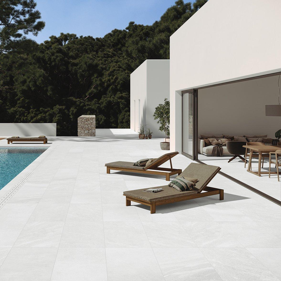 White outdoor floor tiles