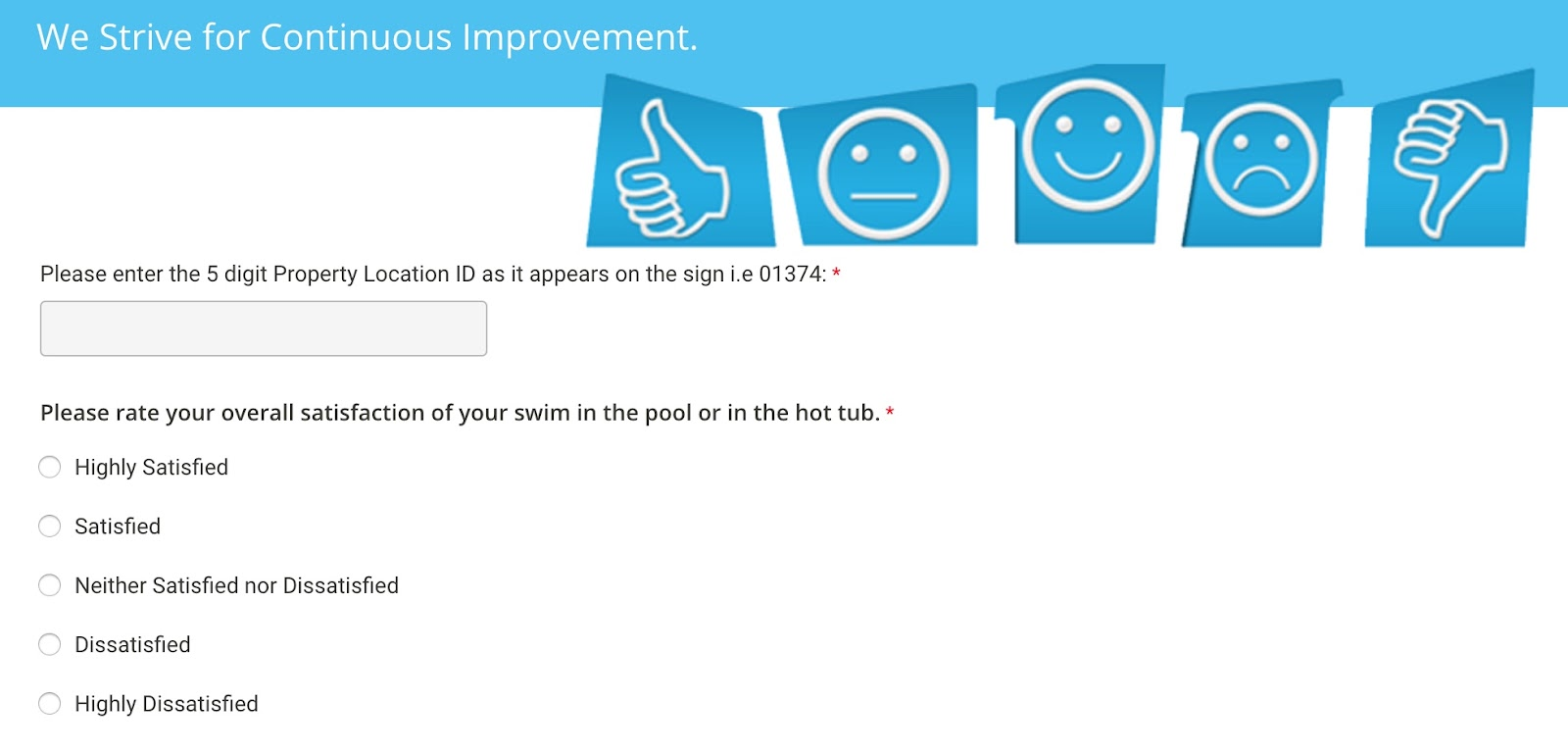 graphic showing Superior Pool's How Was Your Swim feedback questionnaire