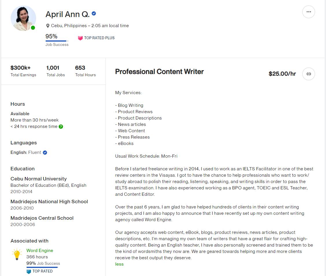 upwork profile example for freelancer April Ann