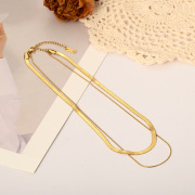 European and American Street Shot Same Fashion Jewelry Titanium Steel Necklace Affordable Luxury Simple Cold Style Texture Chain Flat Necklace