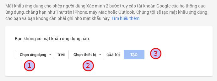 Tạo mật khẩu ứng dụng Gmail