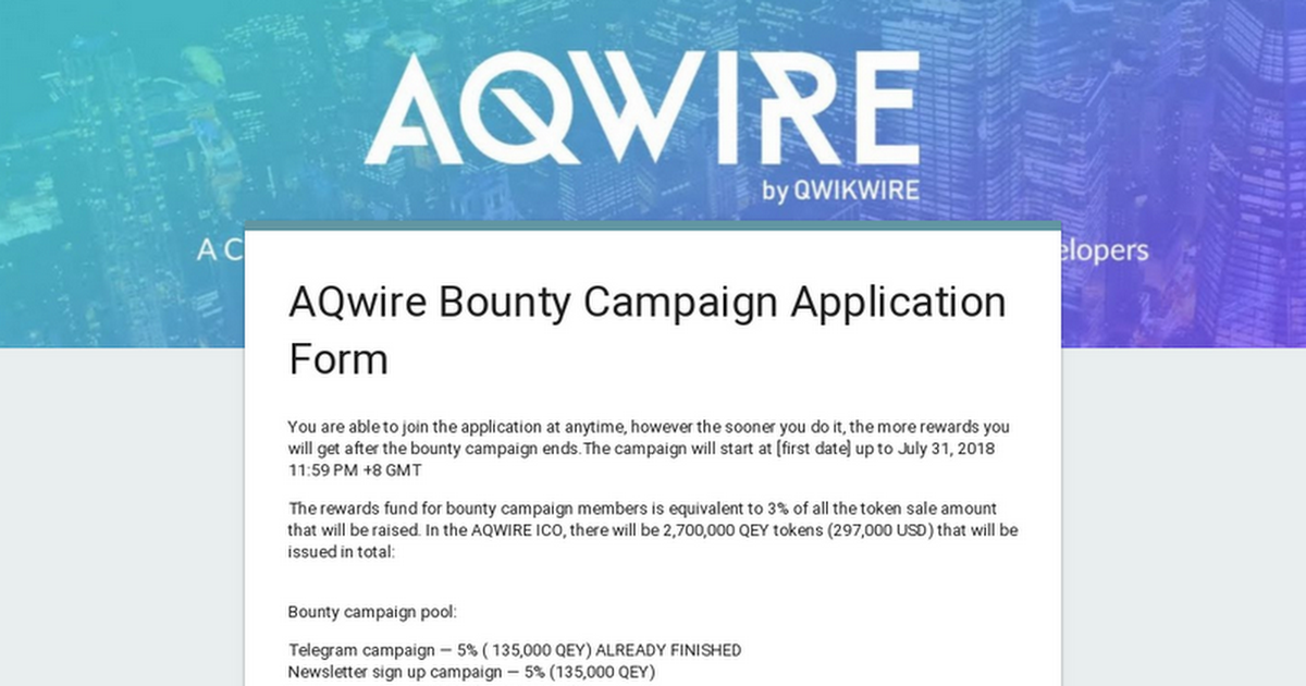 AQwire Bounty Campaign Application Form