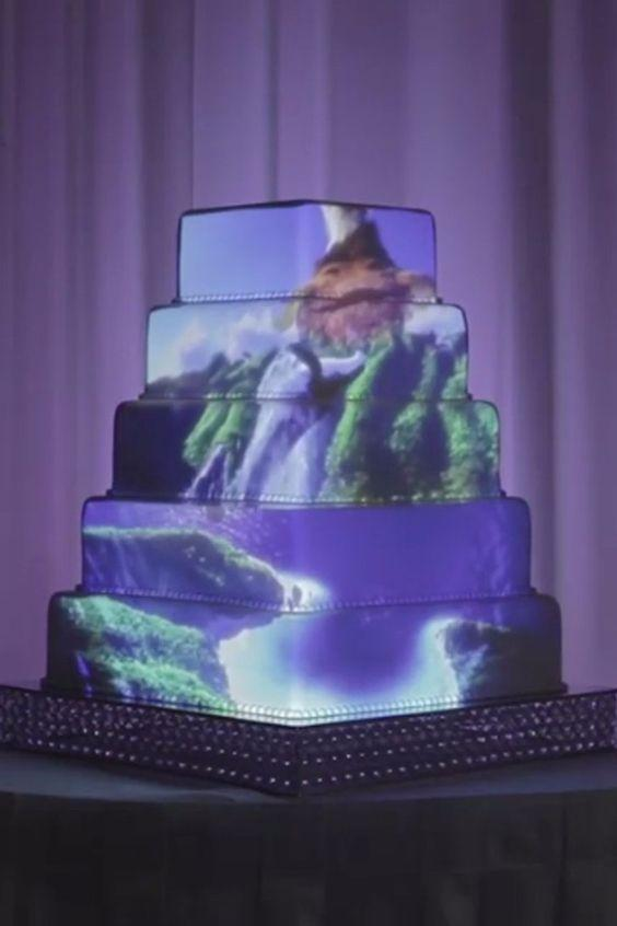5 Epic Wedding Cakes With Disney Images Projected Onto Them: