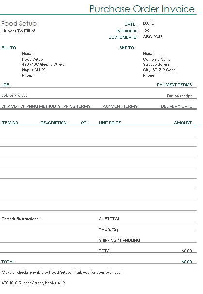 Food Template Invoice Example Food Restaurant Order Form