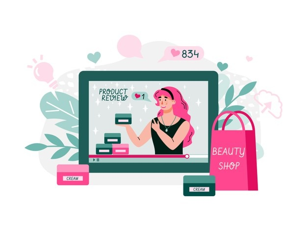 Free Vector   Female blogger reviewing products illustration