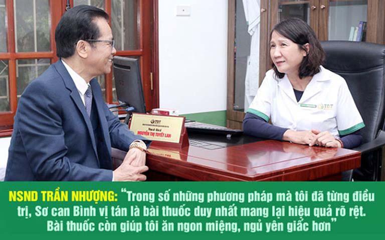 NSND Trần Nhượng bày tỏ sự hài lòng về kết quả khỏi bệnh sau khi dúng Sơ can Bình vị tán
